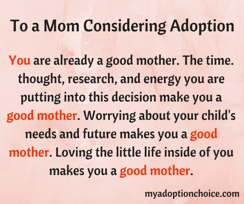 mom considering adoption