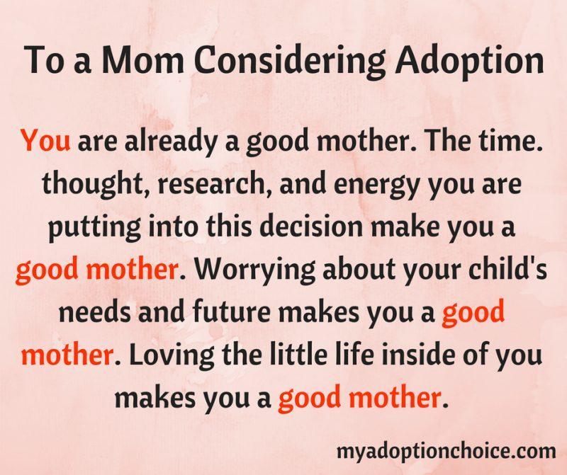 mom considering adoption